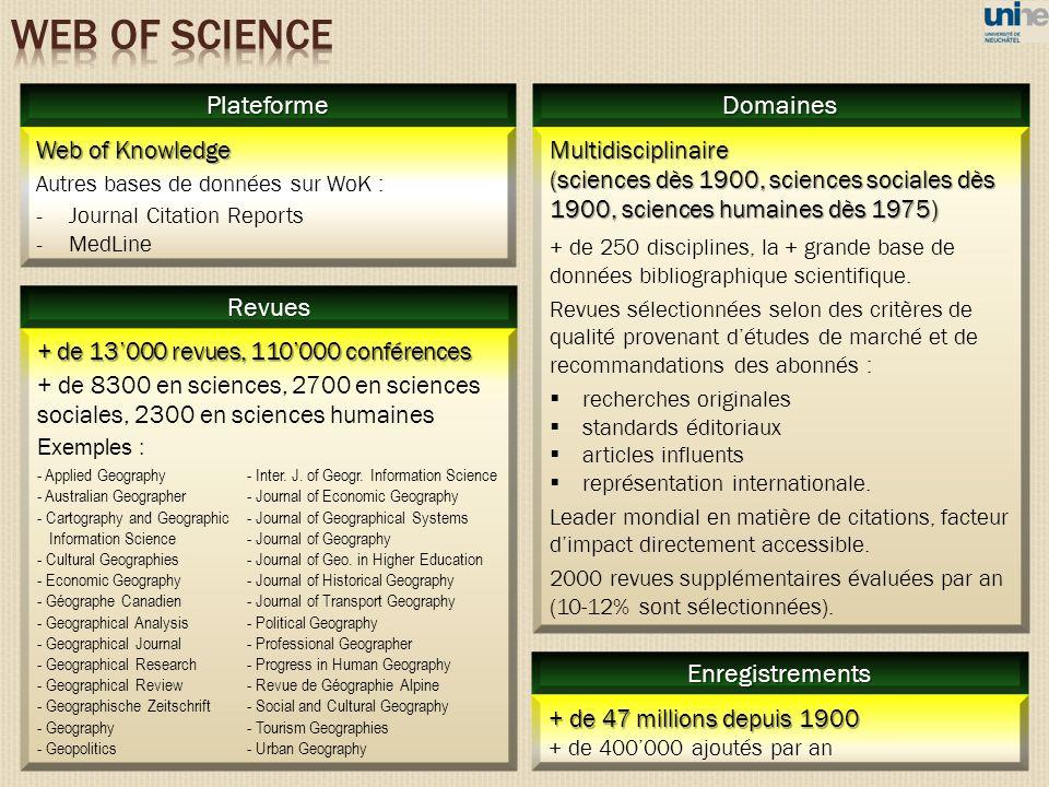 Multidisciplinaire (sciences dès 1900, sciences sociales dès 1900, sciences humaines dès 1975) + de 250 disciplines, la + grande base de données bibli