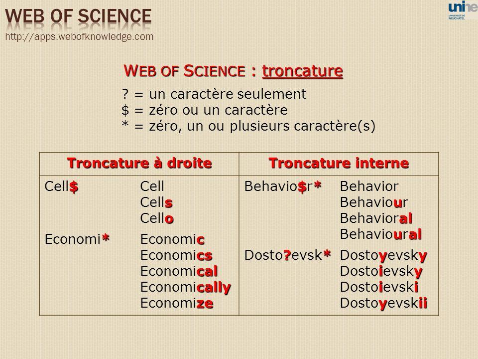 W EB OF S CIENCE : troncature ? = un caractère seulement $ = zéro ou un caractère * = zéro, un ou plusieurs caractère(s) Troncature à droite Troncatur