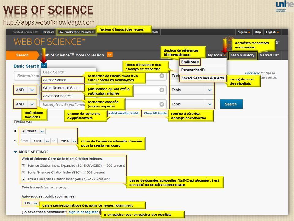 choix de lannée ou intervalle dannées pour la session en cours remise à zéro des champs de recherche opérateurs booléens http://apps.webofknowledge.co