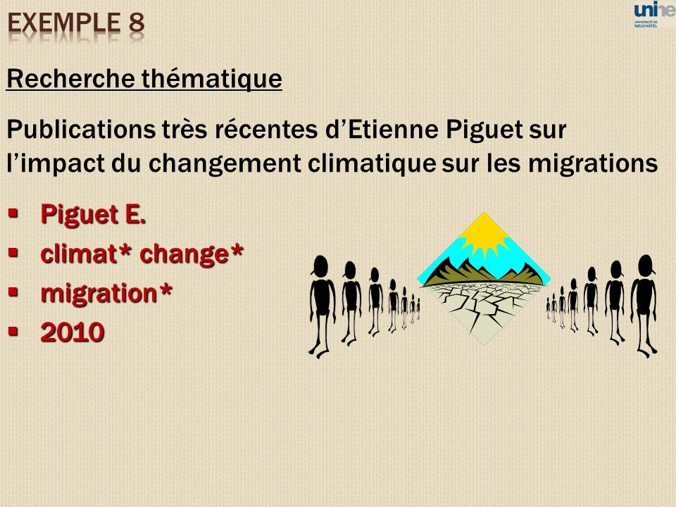 Recherche thématique Publications très récentes dEtienne Piguet sur limpact du changement climatique sur les migrations Piguet E. Piguet E. climat* ch