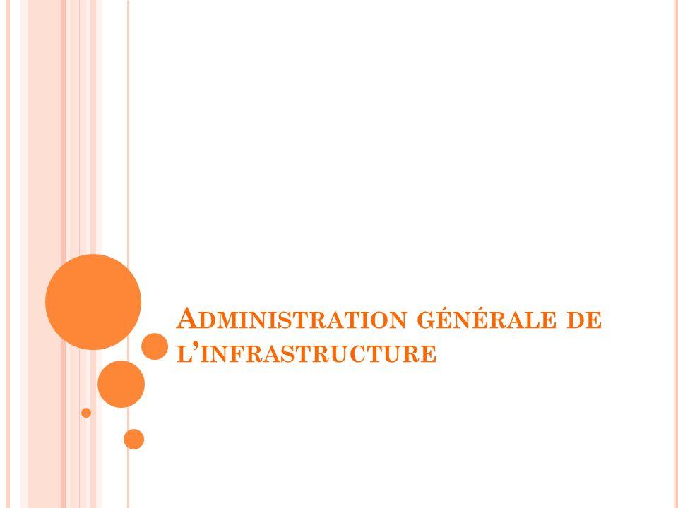 A DMINISTRATION GÉNÉRALE DE L INFRASTRUCTURE
