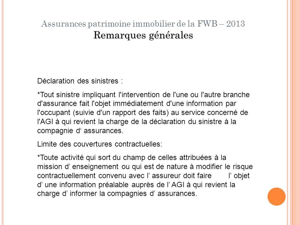 Remarques générales Assurances patrimoine immobilier de la FWB – 2013 Remarques générales Déclaration des sinistres : *Tout sinistre impliquant l'inte