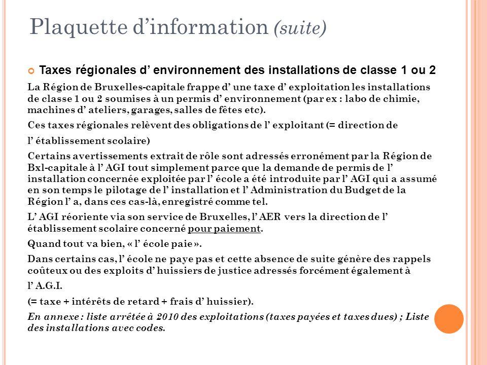 Plaquette dinformation (suite) Taxes régionales d environnement des installations de classe 1 ou 2 La Région de Bruxelles-capitale frappe d une taxe d
