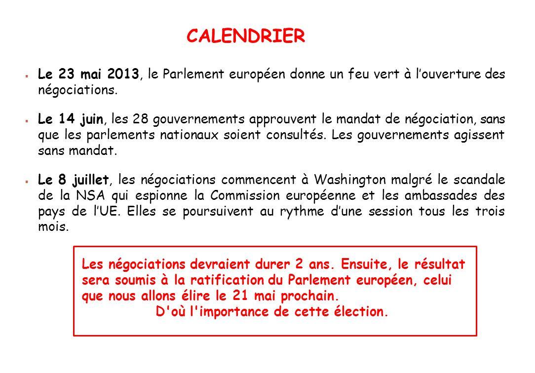 Le 23 mai 2013, le Parlement européen donne un feu vert à louverture des négociations. Le 14 juin, les 28 gouvernements approuvent le mandat de négoci