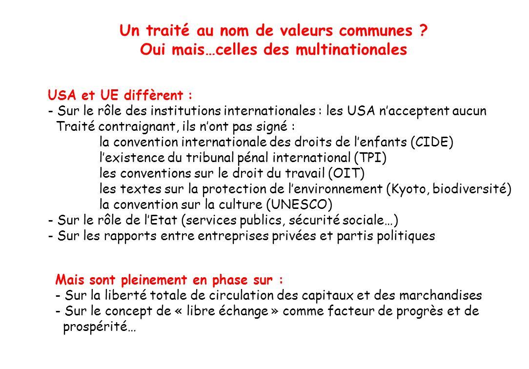 Un traité au nom de valeurs communes ? Oui mais…celles des multinationales USA et UE diffèrent : - Sur le rôle des institutions internationales : les