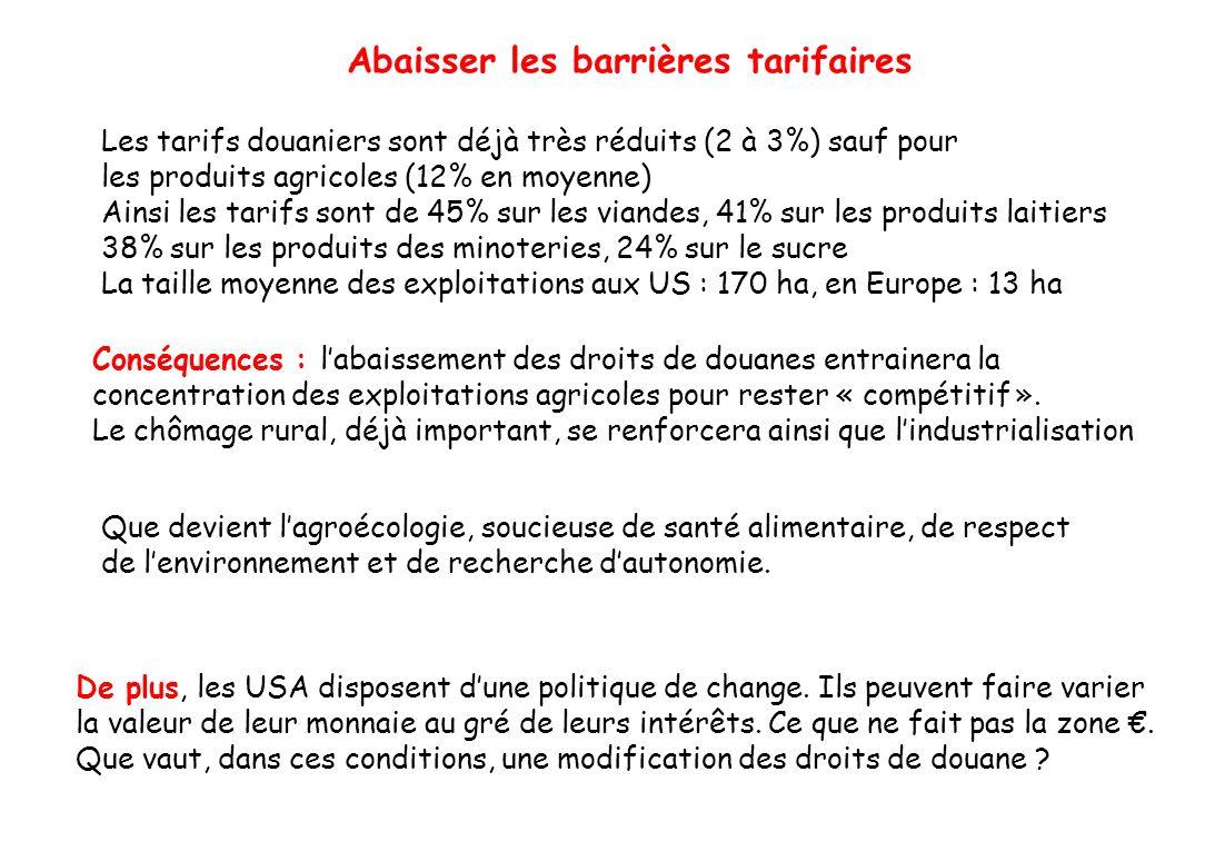 Abaisser les barrières tarifaires Les tarifs douaniers sont déjà très réduits (2 à 3%) sauf pour les produits agricoles (12% en moyenne) Ainsi les tar