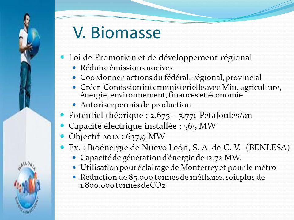 V. Biomasse Loi de Promotion et de développement régional Réduire émissions nocives Coordonner actions du fédéral, régional, provincial Créer Comissio