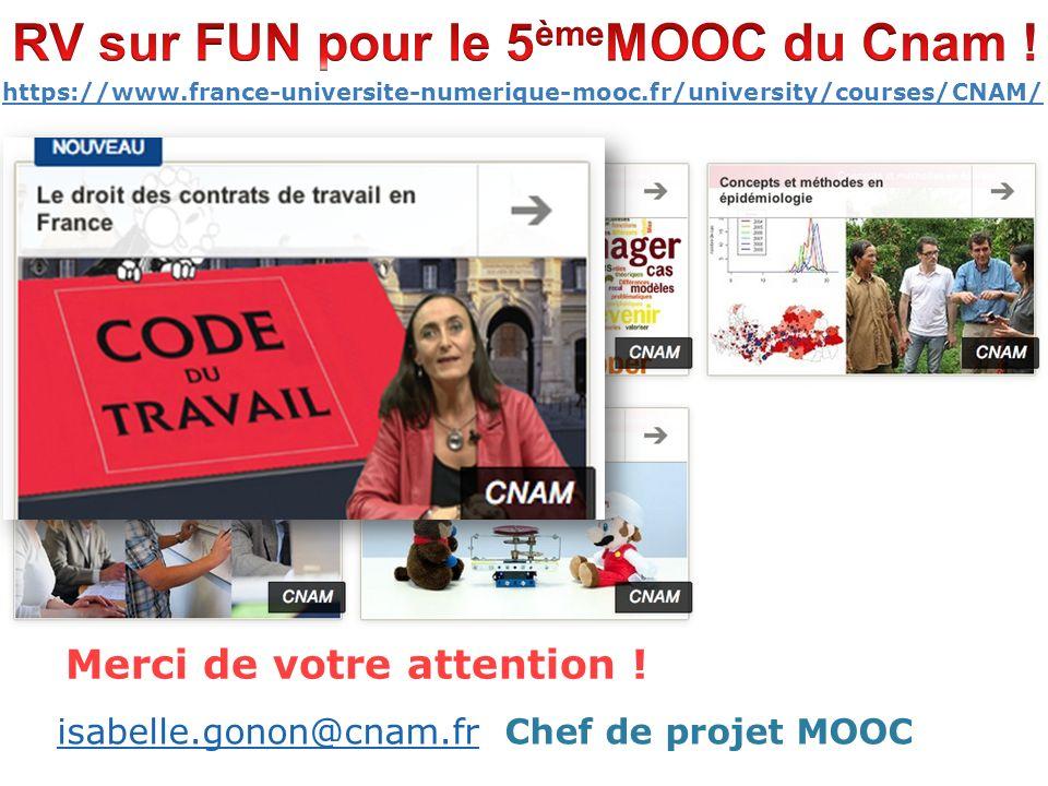 10 https://www.france-universite-numerique-mooc.fr/university/courses/CNAM/ isabelle.gonon@cnam.frisabelle.gonon@cnam.fr Chef de projet MOOC Merci de