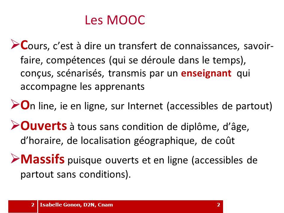 2 Les MOOC C ours, cest à dire un transfert de connaissances, savoir- faire, compétences (qui se déroule dans le temps), conçus, scénarisés, transmis