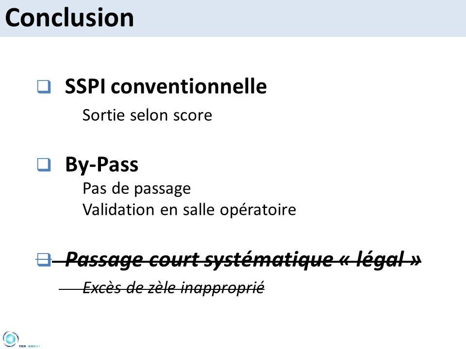 SSPI conventionnelle Sortie selon score By-Pass Pas de passage Validation en salle opératoire Passage court systématique « légal » Excès de zèle inapp