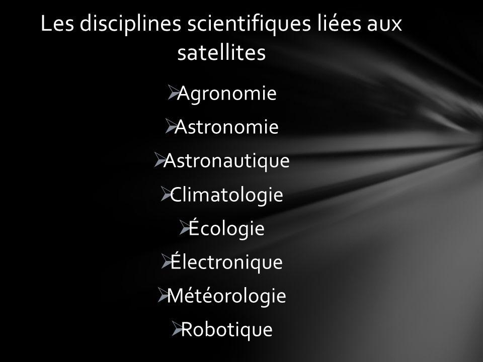 Agronomie Astronomie Astronautique Climatologie Écologie Électronique Météorologie Robotique Les disciplines scientifiques liées aux satellites