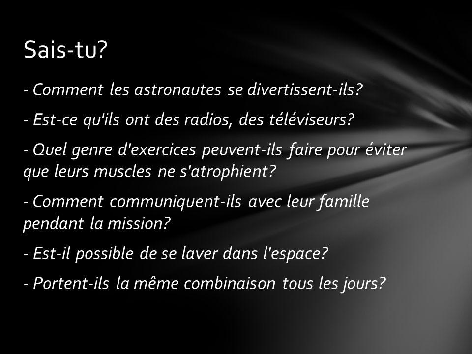 - Comment les astronautes se divertissent-ils.- Est-ce qu ils ont des radios, des téléviseurs.