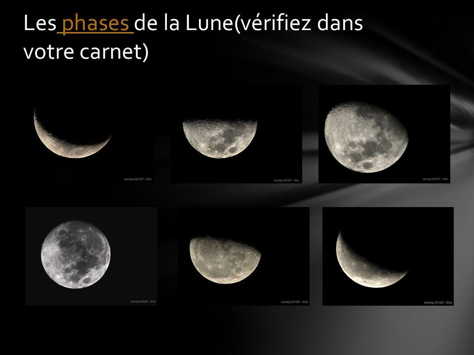 Les phases de la Lune(vérifiez dans votre carnet) phases