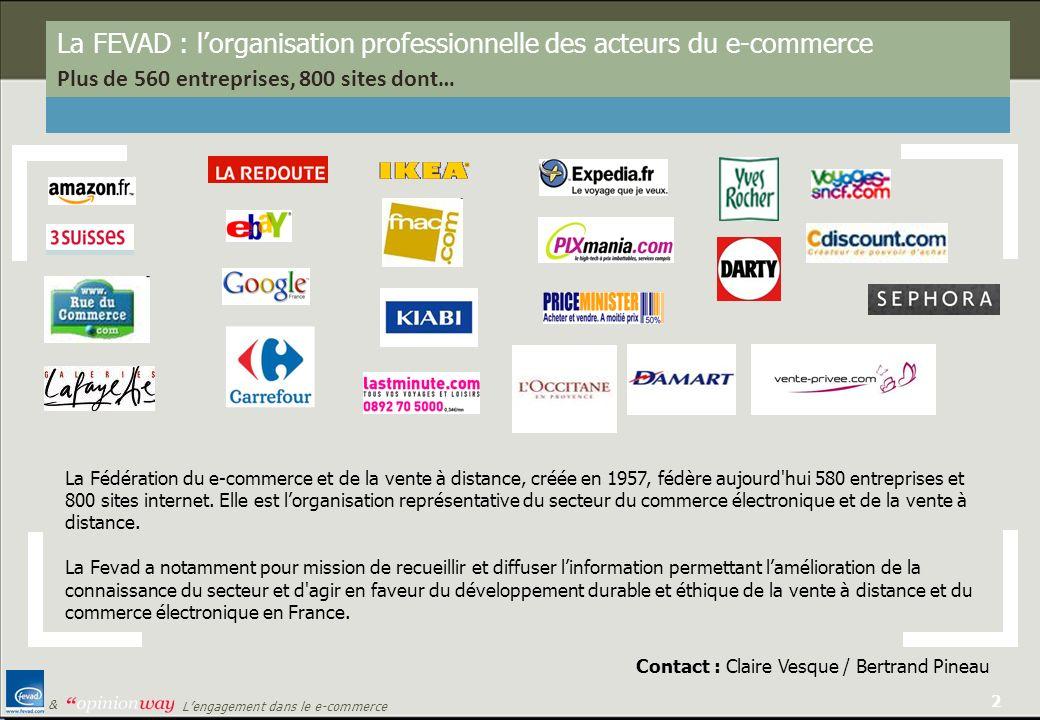 2 Lengagement dans le e-commerce & La FEVAD : lorganisation professionnelle des acteurs du e-commerce Plus de 560 entreprises, 800 sites dont… La Fédé