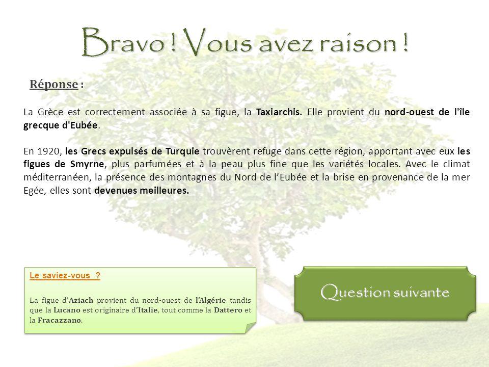 Question 4 : Quel pays est bien associé à sa variété de figue ? La Grèce / Taxiarchis LEspagne / Lucano La Turquie / Azaich