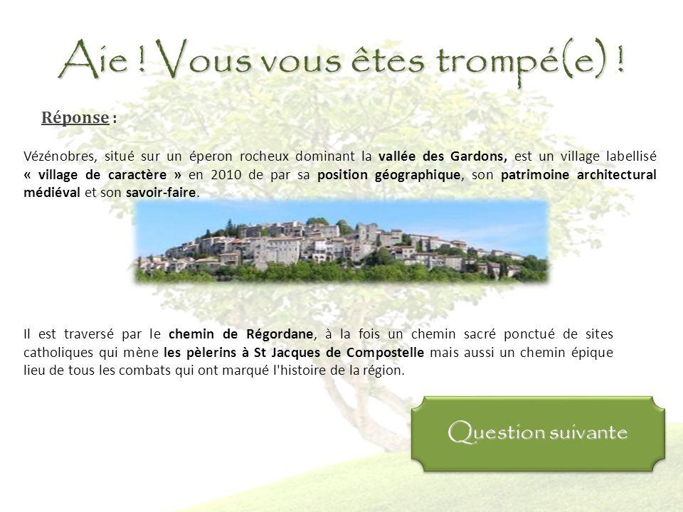 Bravo ! Vous avez raison ! Réponse : Vézénobres, situé sur un éperon rocheux dominant la vallée des Gardons, est un village labellisé « village de car