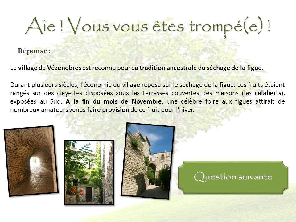 Bravo ! Vous avez raison ! Réponse : Le village de Vézénobres est reconnu pour sa tradition ancestrale du séchage de la figue. Durant plusieurs siècle
