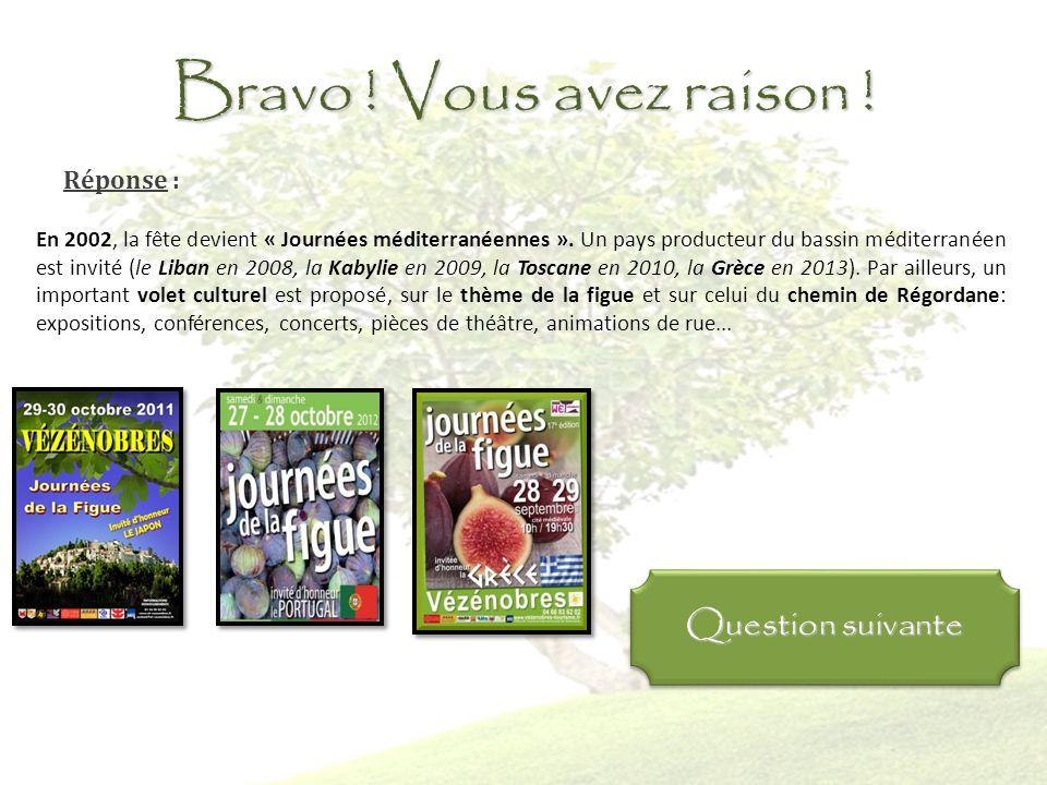 Question 9: En quelle année, la fête de la figue devient-elle les « Journées Méditerranéennes de la figue » ? 1997 2002 2007