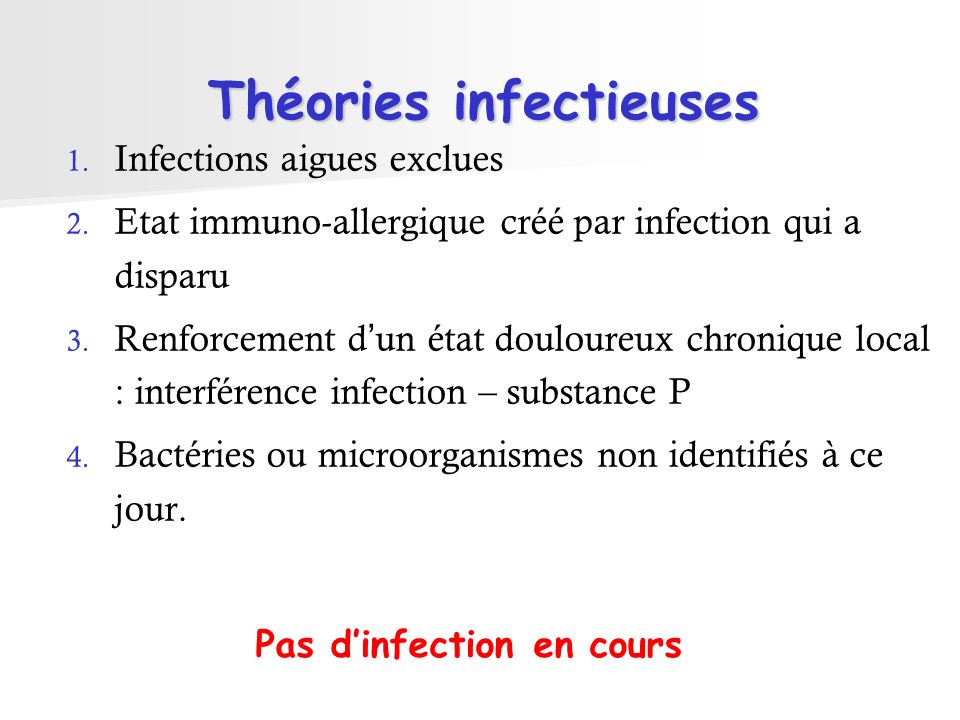 Théories infectieuses 1.Infections aigues exclues 2.