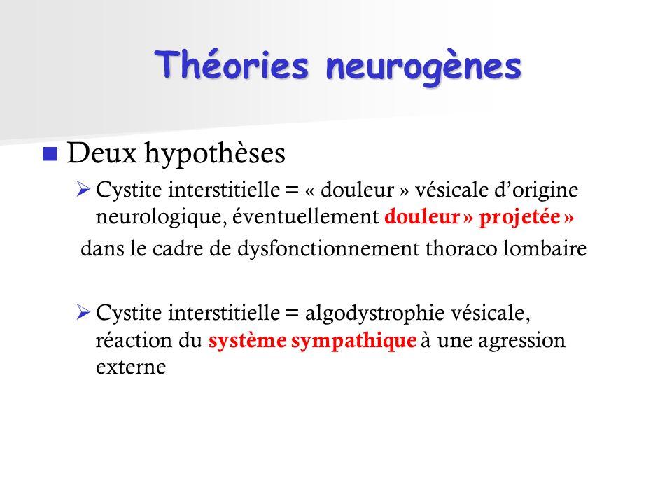 Théories neurogènes Deux hypothèses Cystite interstitielle = « douleur » vésicale dorigine neurologique, éventuellement douleur » projetée » dans le c