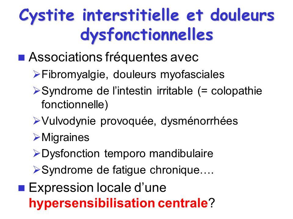 Cystite interstitielle et douleurs dysfonctionnelles Associations fréquentes avec Fibromyalgie, douleurs myofasciales Syndrome de lintestin irritable