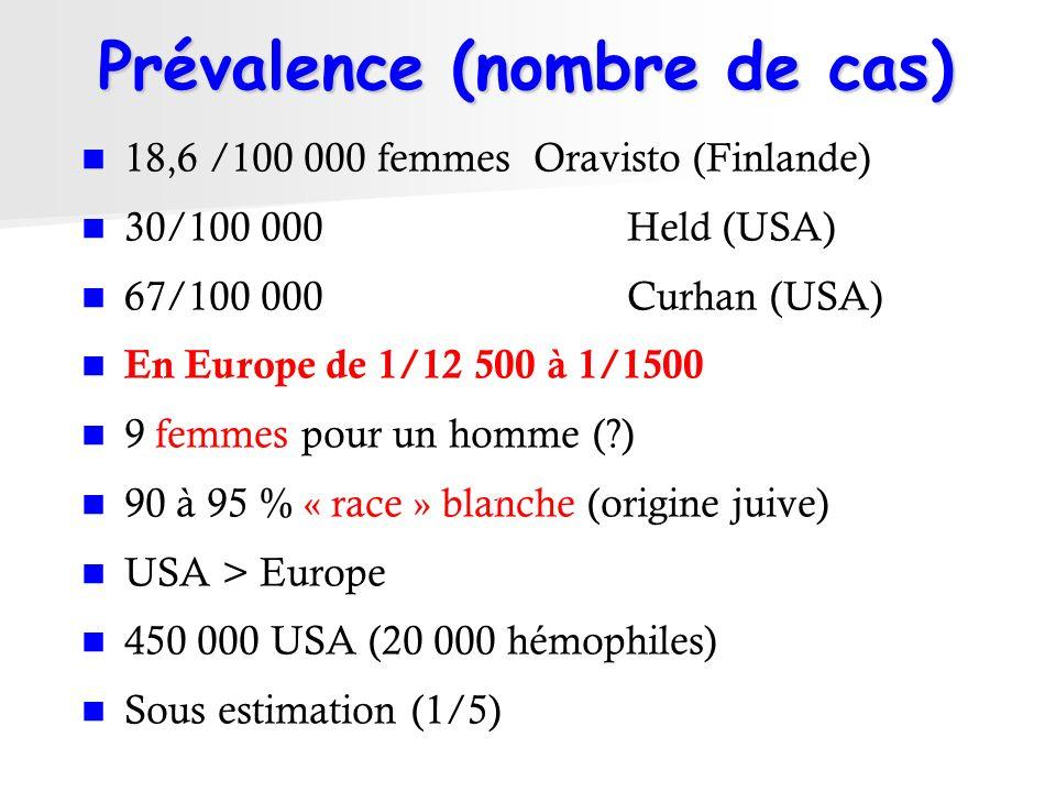 Prévalence (nombre de cas) 18,6 /100 000 femmesOravisto (Finlande) 30/100 000 Held (USA) 67/100 000 Curhan (USA) En Europe de 1/12 500 à 1/1500 9 femm