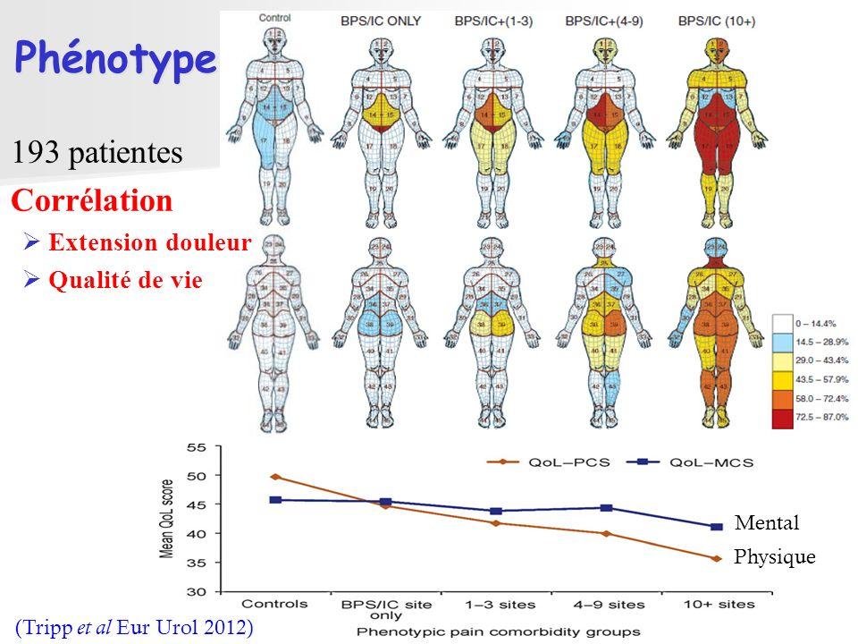 (Tripp et al Eur Urol 2012) Mental Physique Phénotype 193 patientes Corrélation Extension douleur Qualité de vie