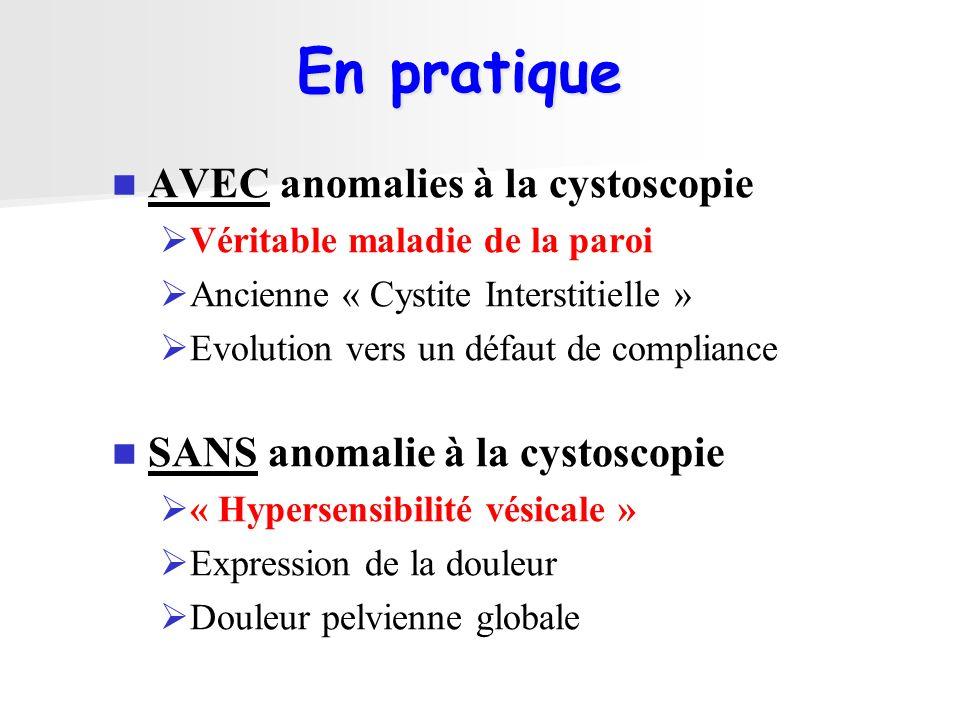 AVEC anomalies à la cystoscopie Véritable maladie de la paroi Ancienne « Cystite Interstitielle » Evolution vers un défaut de compliance SANS anomalie