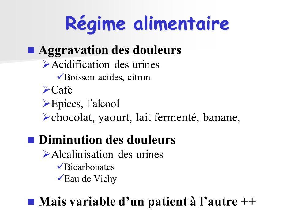 Régime alimentaire Aggravation des douleurs Acidification des urines Boisson acides, citron Café Epices, lalcool chocolat, yaourt, lait fermenté, bana