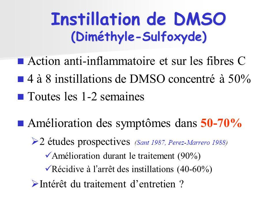 Instillation de DMSO (Diméthyle-Sulfoxyde) Action anti-inflammatoire et sur les fibres C 4 à 8 instillations de DMSO concentré à 50% Toutes les 1-2 se