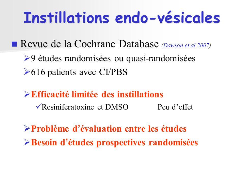 Instillations endo-vésicales Revue de la Cochrane Database (Dawson et al 2007) 9 études randomisées ou quasi-randomisées 616 patients avec CI/PBS Effi