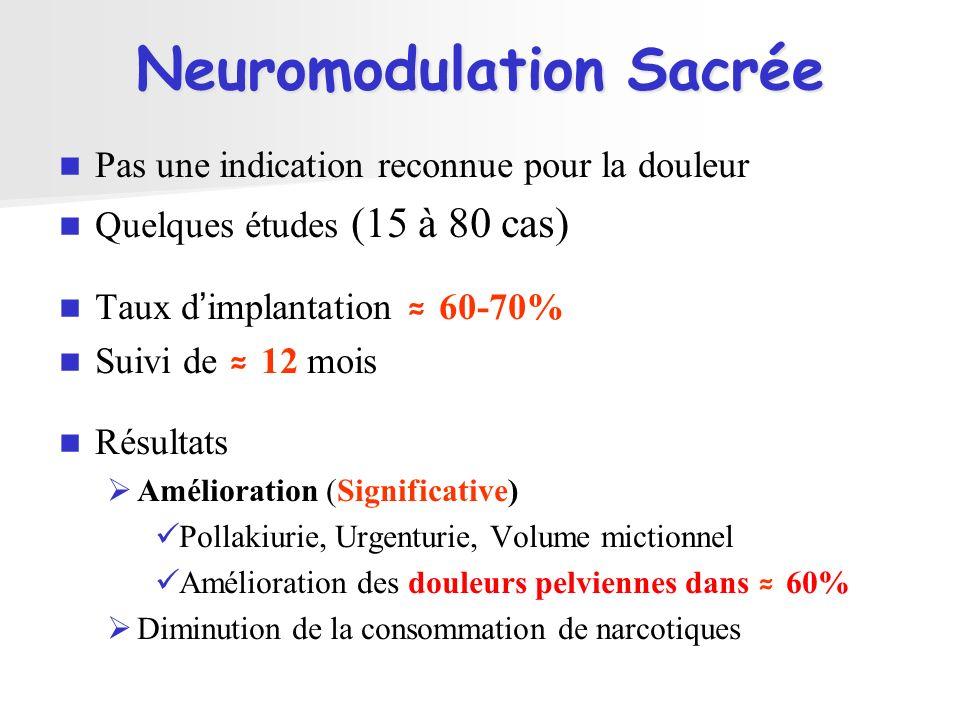 Neuromodulation Sacrée Pas une indication reconnue pour la douleur Quelques études (15 à 80 cas) Taux dimplantation 60-70% Suivi de 12 mois Résultats