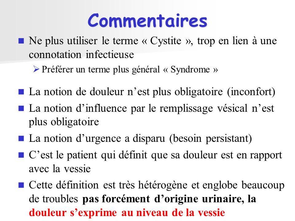 Commentaires Ne plus utiliser le terme « Cystite », trop en lien à une connotation infectieuse Préférer un terme plus général « Syndrome » La notion d