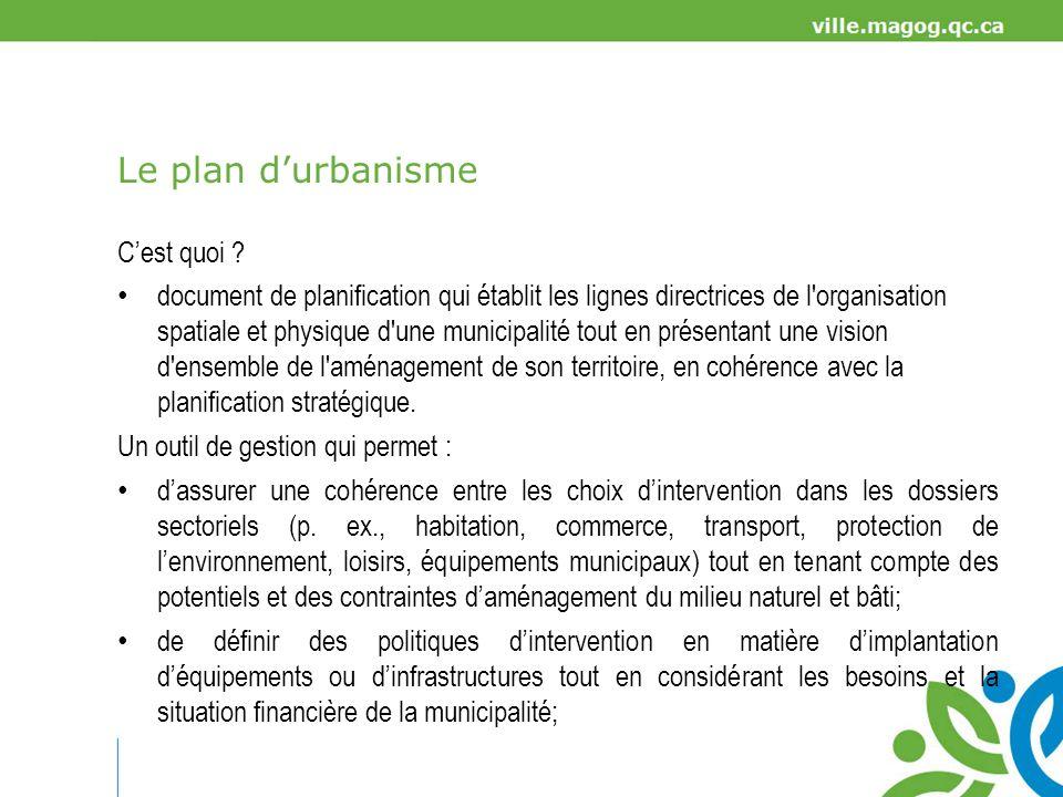 Le plan durbanisme de coordonner les interventions et les investissements des différents services municipaux (p.