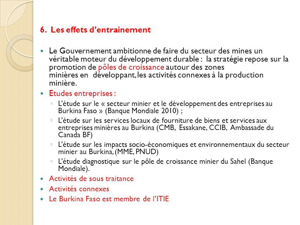 6. Les effets dentrainement Le Gouvernement ambitionne de faire du secteur des mines un véritable moteur du développement durable : la stratégie repos