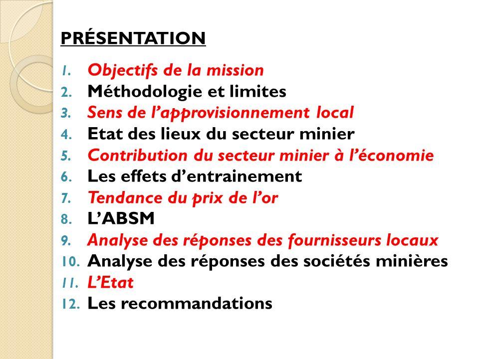 PRÉSENTATION 1. Objectifs de la mission 2. Méthodologie et limites 3. Sens de lapprovisionnement local 4. Etat des lieux du secteur minier 5. Contribu