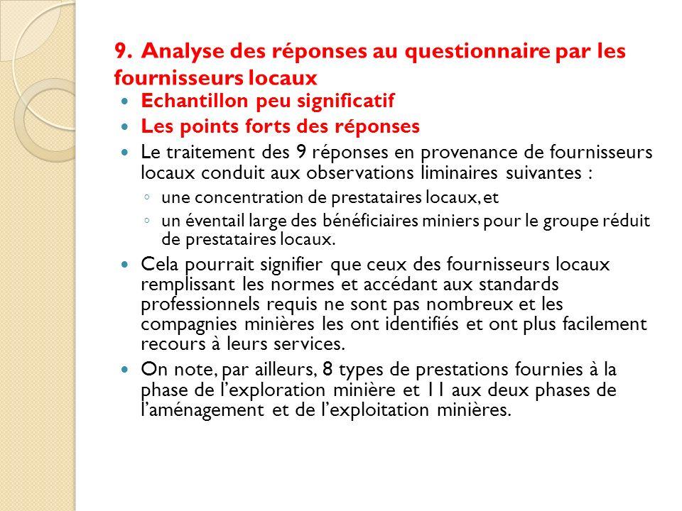 9. Analyse des réponses au questionnaire par les fournisseurs locaux Echantillon peu significatif Les points forts des réponses Le traitement des 9 ré