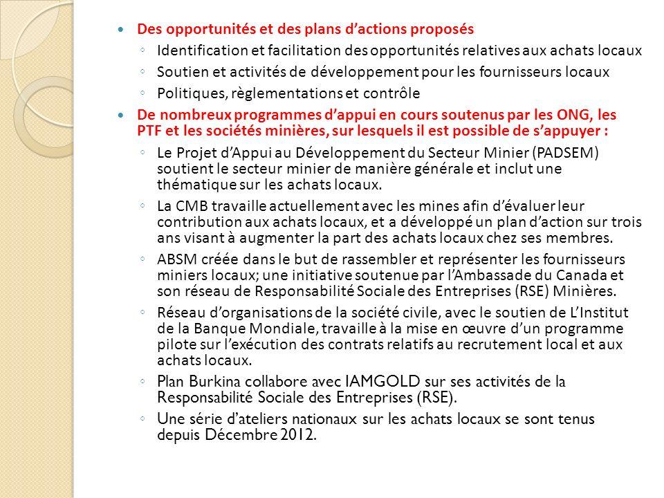 Des opportunités et des plans dactions proposés Identification et facilitation des opportunités relatives aux achats locaux Soutien et activités de dé