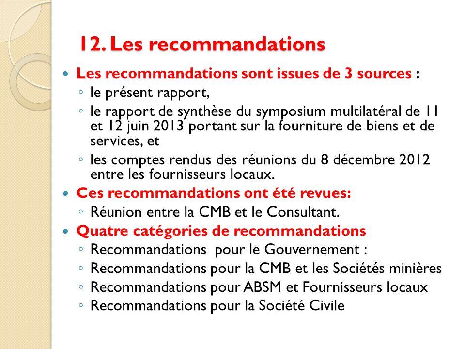 12. Les recommandations Les recommandations sont issues de 3 sources : le présent rapport, le rapport de synthèse du symposium multilatéral de 11 et 1