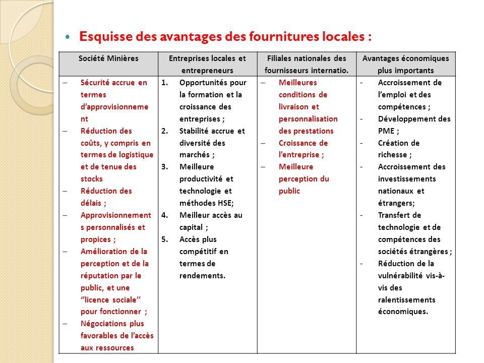 Esquisse des avantages des fournitures locales : Société Minières Entreprises locales et entrepreneurs Filiales nationales des fournisseurs internatio