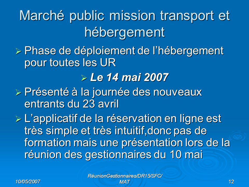 10/05/2007 RéunionGestionnaires/DR15/SFC/ MAT12 Marché public mission transport et hébergement Phase de déploiement de lhébergement pour toutes les UR Phase de déploiement de lhébergement pour toutes les UR Le 14 mai 2007 Le 14 mai 2007 Présenté à la journée des nouveaux entrants du 23 avril Présenté à la journée des nouveaux entrants du 23 avril Lapplicatif de la réservation en ligne est très simple et très intuitif,donc pas de formation mais une présentation lors de la réunion des gestionnaires du 10 mai Lapplicatif de la réservation en ligne est très simple et très intuitif,donc pas de formation mais une présentation lors de la réunion des gestionnaires du 10 mai