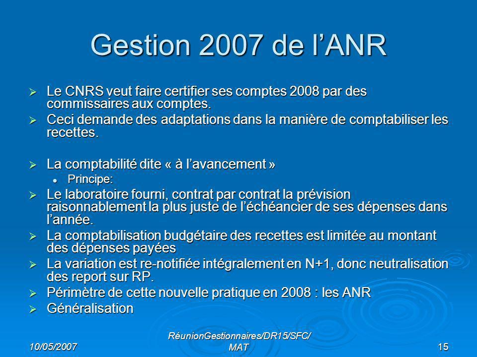 10/05/2007 RéunionGestionnaires/DR15/SFC/ MAT15 Gestion 2007 de lANR Le CNRS veut faire certifier ses comptes 2008 par des commissaires aux comptes.