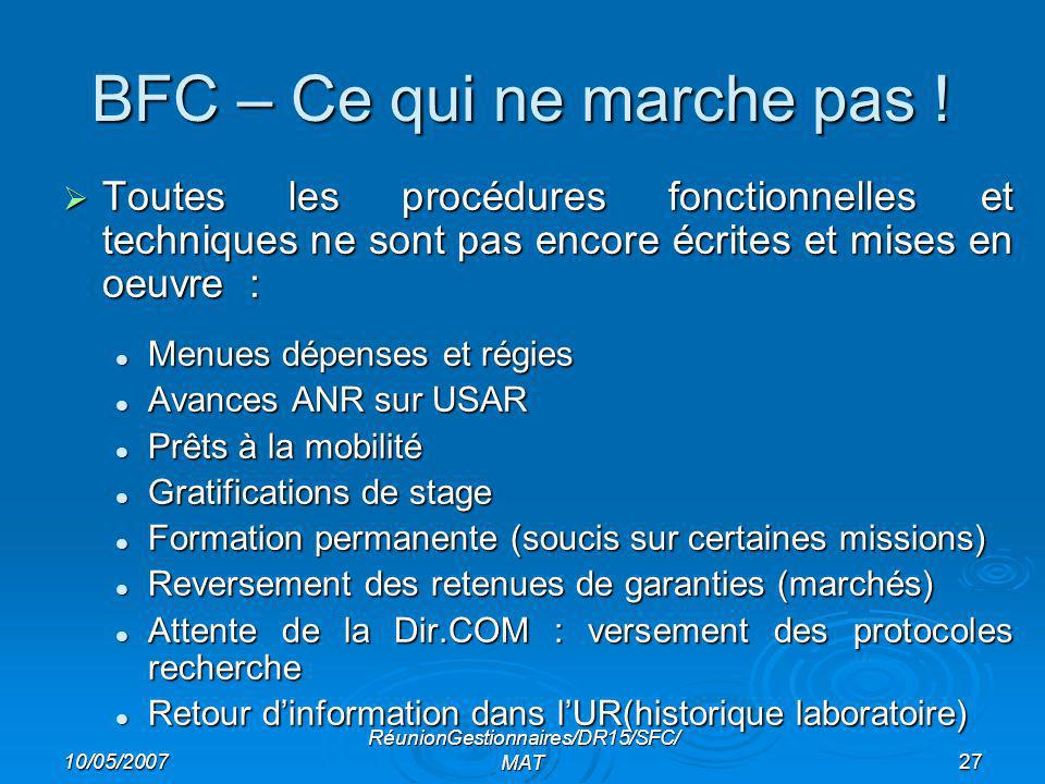 10/05/2007 RéunionGestionnaires/DR15/SFC/ MAT27 BFC – Ce qui ne marche pas .