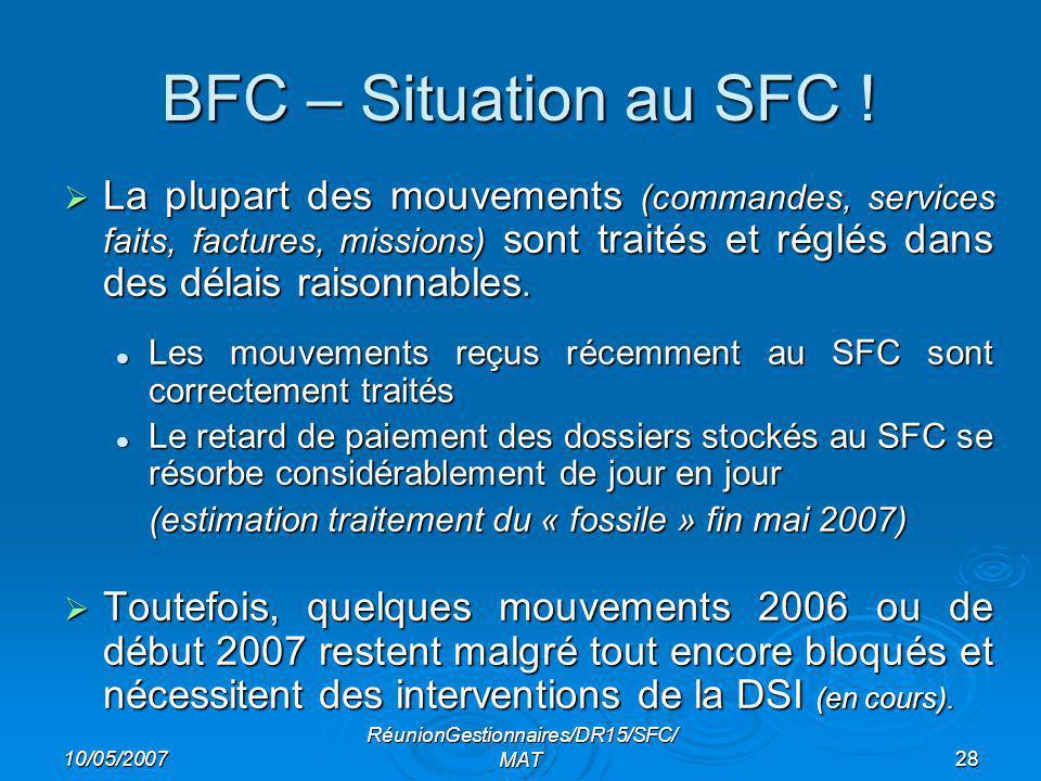10/05/2007 RéunionGestionnaires/DR15/SFC/ MAT28 BFC – Situation au SFC .