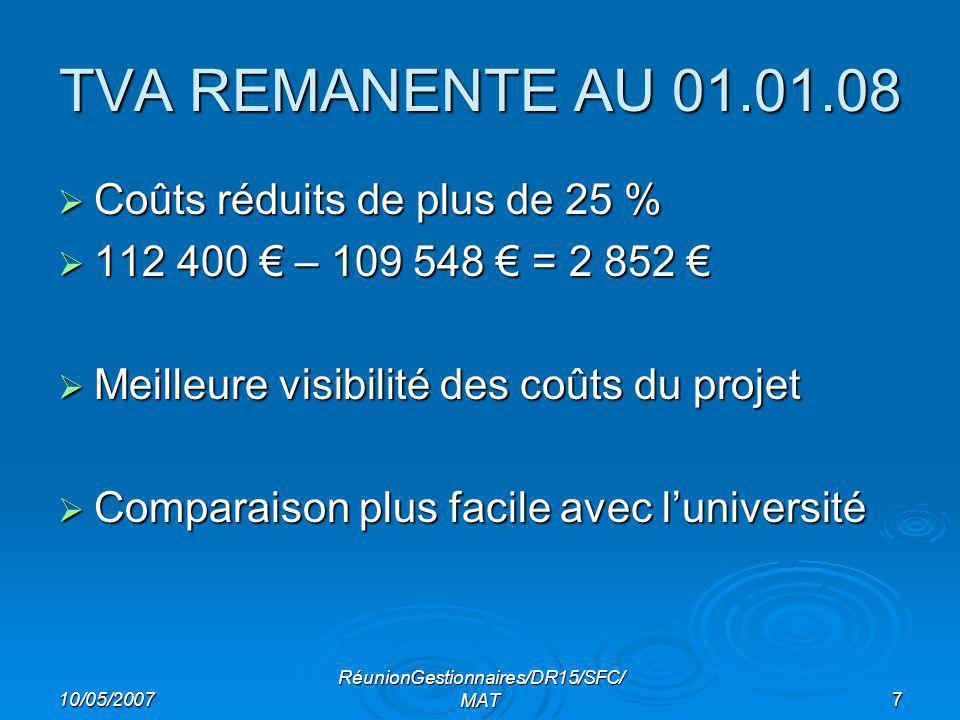 10/05/2007 RéunionGestionnaires/DR15/SFC/ MAT7 TVA REMANENTE AU 01.01.08 Coûts réduits de plus de 25 % Coûts réduits de plus de 25 % 112 400 – 109 548 = 2 852 112 400 – 109 548 = 2 852 Meilleure visibilité des coûts du projet Meilleure visibilité des coûts du projet Comparaison plus facile avec luniversité Comparaison plus facile avec luniversité