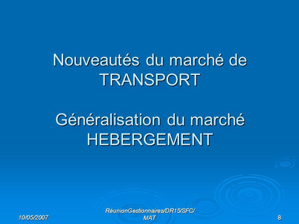 10/05/2007 RéunionGestionnaires/DR15/SFC/ MAT8 Nouveautés du marché de TRANSPORT Généralisation du marché HEBERGEMENT