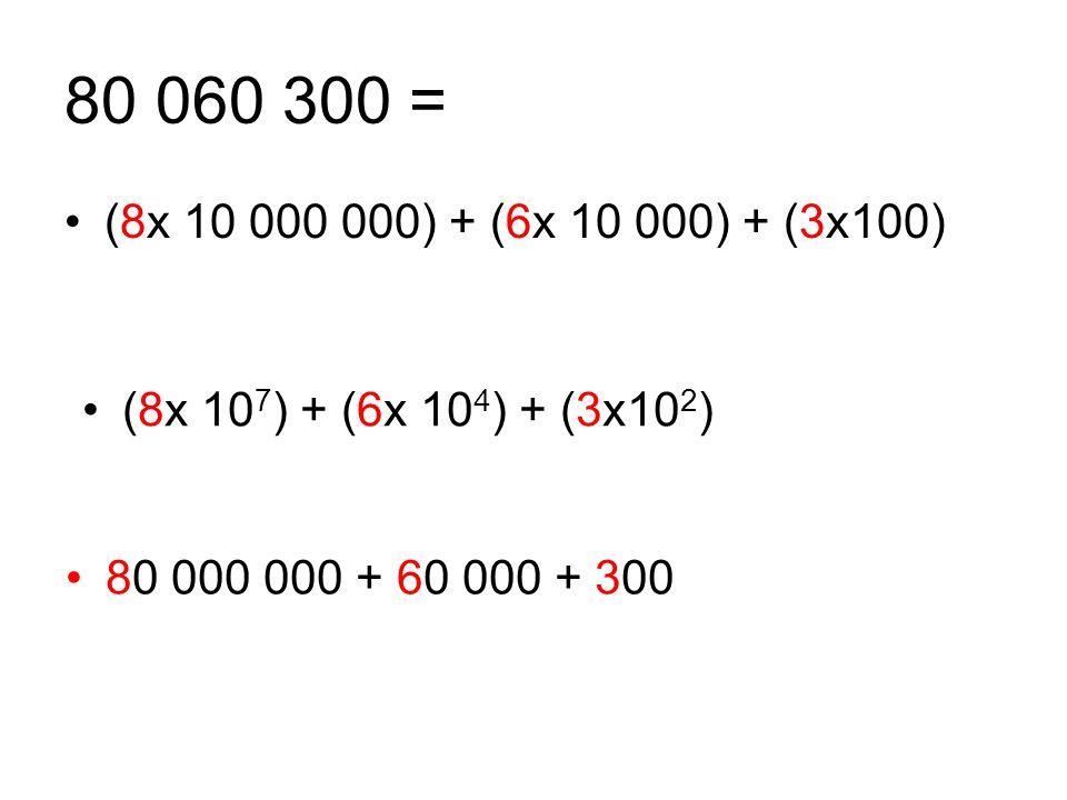 80 060 300 = (8x 10 000 000) + (6x 10 000) + (3x100) (8x 10 7 ) + (6x 10 4 ) + (3x10 2 ) 80 000 000 + 60 000 + 300