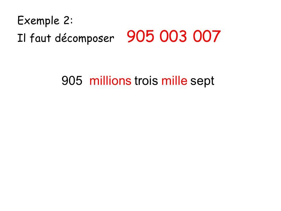 Exemple 2: Il faut décomposer 905 003 007 905 millions trois mille sept