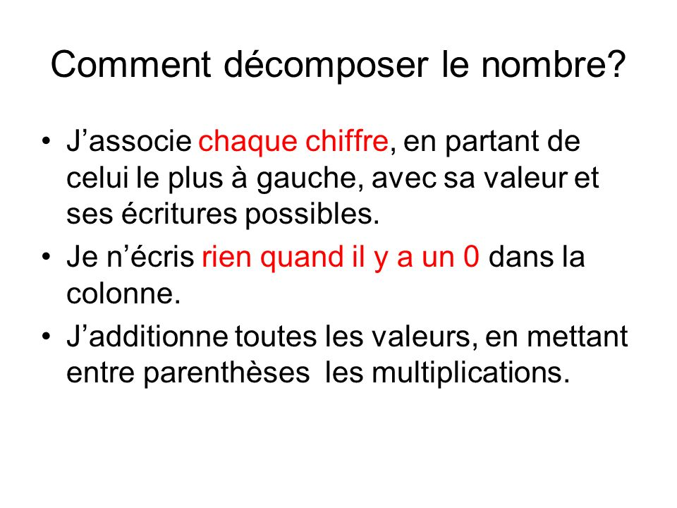 Comment recomposer le nombre.