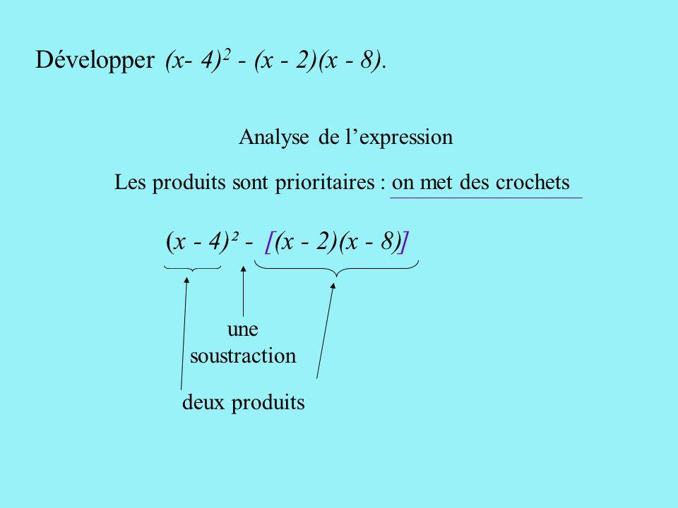 (x - 4)² - (x - 2)(x - 8) [ ] Développer (x- 4) 2 - (x - 2)(x - 8).